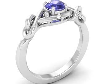 Tanzanite Ring, 14K White Gold, Solitaire Ring, Tanzanite Engagement Ring, Anniversary Ring, Wedding Ring, December Birthstone Gold Ring