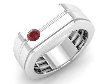 Mens Engagement Ring | Mens Ruby Ring | Mens Wedding Band Gold | Natural Ruby Anniversary Ring | Ruby Ring | Mens Ruby Gold Ring