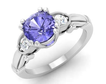 Tanzanite Ring, 14K White Gold, Tanzanite Engagement Ring, Vintage Ring Gold, Are Deco Ring, Anniversary Ring,Wedding Ring, Three Stone Ring