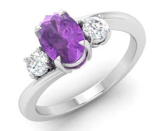 Amethyst Engagement Ring, 14K White Gold, Three Stone Ring, Oval Cut Engagement Ring, Anniversary Ring, Wedding Ring, Purple Birthstone Ring