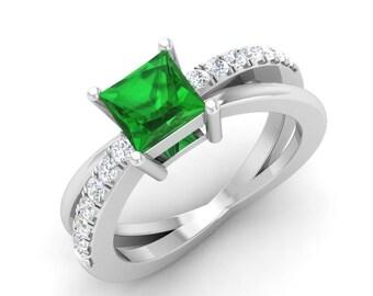 Green Emerald Engagement Ring, 14K White Gold, Princess Cut, Anniversary Ring, Wedding Ring, Natural Emerald Ring, Green Gemstone Ring,