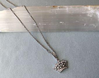 Rhinestone Crown Pendant Neckless Silvertone - Mint Pristine Condition