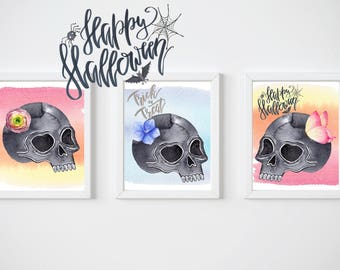 Pretty Skulls Halloween 8x10 Prints, Set of THREE Instant Download, Printable Decor Bundle, Halloween Art, 8x10 Digital Prints