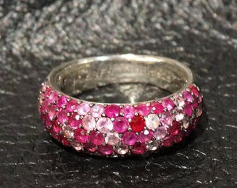Ruby Pink Sapphire Ring Sterling Silver 2.85 Carats Vintage