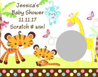 20 Fisher Price Jungle Safari Baby Shower Scratch Off Cards