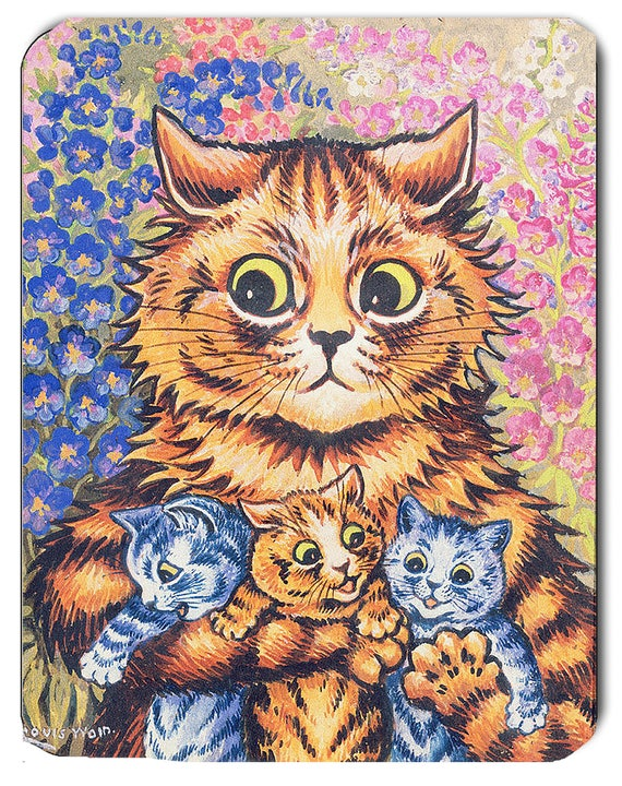 Louis Wain Mother Cat with Kittens Mouse Mat Mouse Pad