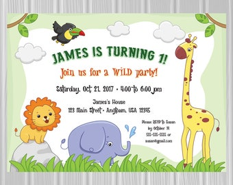 Kids' Birthday Party Invitation | Safari Animals Theme | Custom Invitation | *DIGITAL FILE*