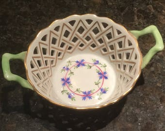 Vintage Herend Blue Garland Openwork Basket With Handles - Candy Basket
