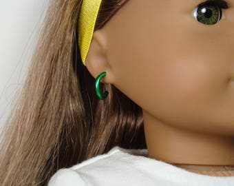 """Removable Green Hoop Earrings for 18"""" Play Dolls such as American Girl®"""