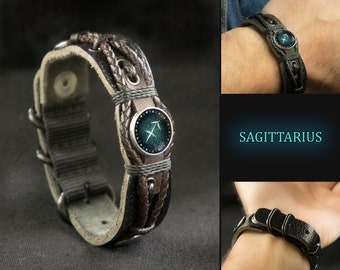 Adjustable Black Leather Sagittarius  Bracelet for Men, Sagittarius  Jewelry