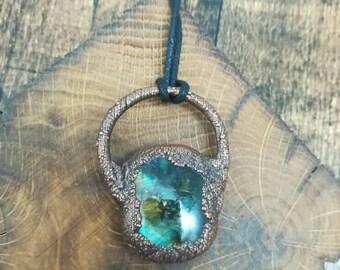 Chunky green labradorite copper electroformed pendant on long adjustable cotton cord