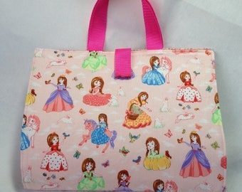 Activity Carry Busy Bag in blue Fairytale Princess and white rabbit Fabric with 5 ziplock plastic pouches
