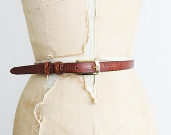 SALE Thin Leather Belt // Medium to Large 1970's Belt with Brass Buckle // Women's Vintage Accessory