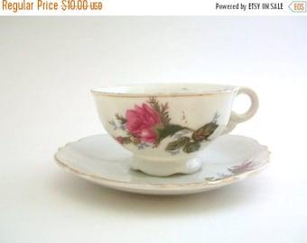 CLEARANCE Teacup & Saucer, Teacup Set, White and Pink Teacup, Rose Teacup, Floral Teacup, Demitasse Teacup, Vintage Teacup Set, Rose Demitas