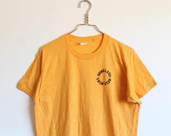 XLARGE Vintage 1970s Duneland Swim Club Soft and Thin Yellow T-Shirt