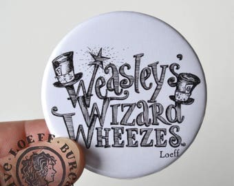 Large Button Weasley's Wizard Wheezes 2 1/4 inch, illustration on button, harry potter inspired