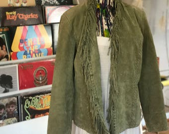 Vintage Green Fringed Suede Jacket