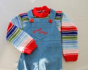 Corduroy overall and sweater Chucky Doll, Good Guys, chucky costume, corduroy pants, overalls