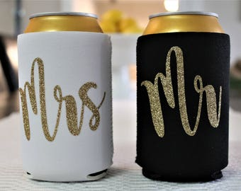Can cooler, beer cooler, drink holder, engagement gift, gift for the couple, Mr, Mrs, wedding gift, custom wedding can cooler, glitter