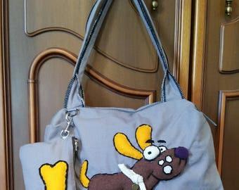 fabric bag with dog