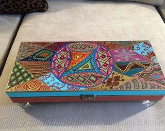 """Hand  Painted  Bohemian Wood Jewelry Box   3""""Hx14.5""""Wx6.5""""D   B0105"""