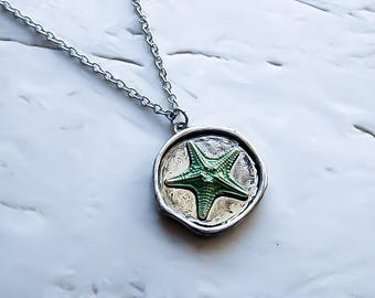 Starfish Necklace, Starfish Pendant - Star fish jewelry - Nautical Necklace - Nautical Pendant - Mermaid Necklace - Beach necklace