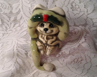Christmas Mouse Shelf Sitter - Christmas Figurine - Shelf, Mantle Piece, Fireplace - Wearing Holly Berry Hat that Dangles off Edge
