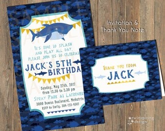 Shark Birthday Party Invitation and/or Thank You Note DIGITAL FILE
