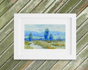 Hazy Summertime Painting - Original Small Watercolor Painting - Romantic Landscape - 9 x 5