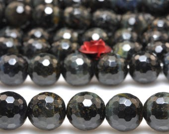 47 pcs of  Blue Tiger Eye faceted  round beads in 8mm (06721#)