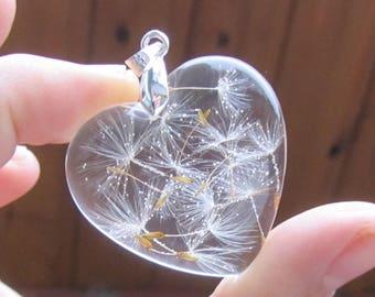dandelion necklace, dandelion jewelry, wish necklace, wish pendant, dandelion pendant, gift for her, terrarium jewelry, resin necklace, wish