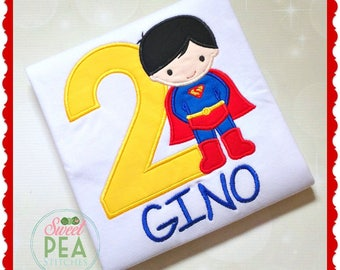 Boys Suerhero Birthday Shirt - Personalized superhero shirt - Boys superhero shirt -  Superboy shirt - Superboy Birthday -  Superhero