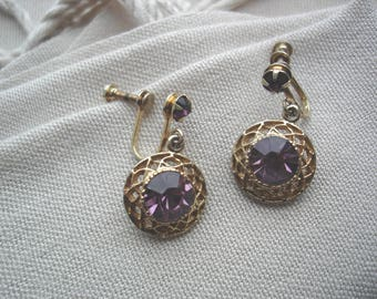 Vintage Purple Earrings, Purple Earrings, Purple Gold Earrings, Gold Purple Earrings, Screw Back Earrings, Non-Pierced, Gift Ideas,