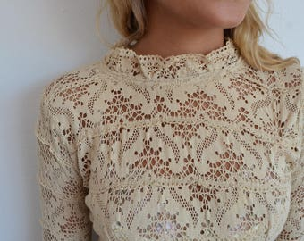 Vintage boho crochet dress - 1960's / 1970's cotton maxi dress - for a wedding dress - xs