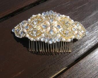 Bridal Hair Comb, Gold Wedding Head Comb, Wedding Headpiece, Rhinestone Head Comb, Gold Wedding Comb,  Gold Bridal Hair Comb
