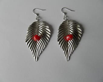 Earrings large silver leaf and Red Lampwork bead