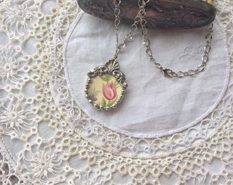 Broken China Necklace With Pink Flower  / Item# N2197