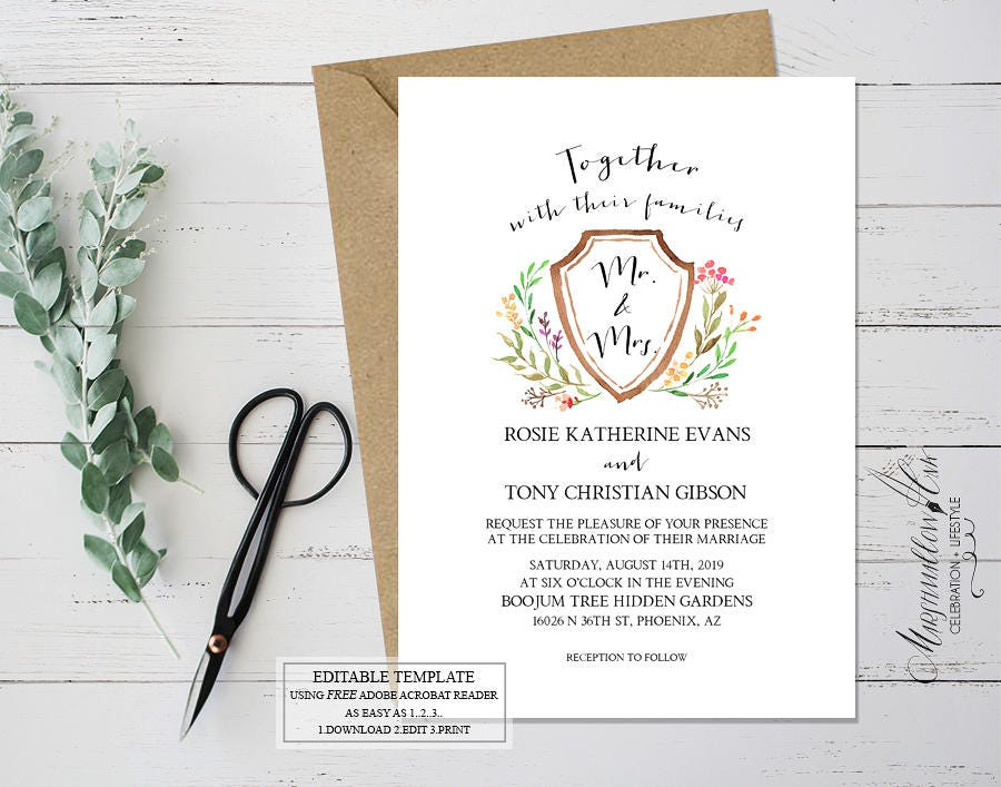 Boho Wedding Invitation Template - Printable Wedding Invitations Green Leaves Garden Wedding Calligraphy Invitations - DIY Wedding Template