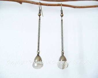 DESTASH earrings with rutilated quartz drops