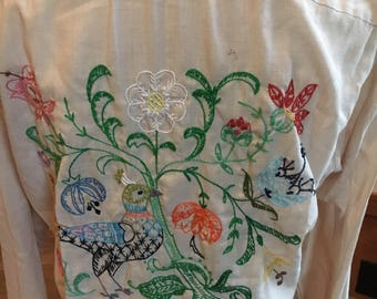 Vintage Sears Roebuck Hand Embroidered Beige Hippe Shirt Perma Prest Button down Shirt Size small