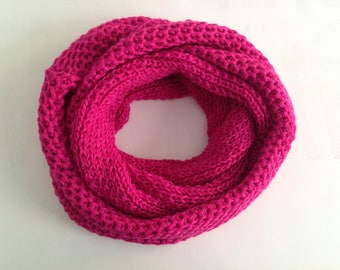 SALE, women scarf, scarf, Knit Scarf, İnfinity Scarf, Chunky Scarf, Scarves, fuchsia scarf, Womens Scarfs