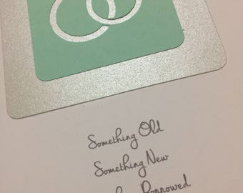Something Old / Something New / Something Borrowed / Something Blue / Bridal Shower Card / Wedding Congratulations Card / Bride to Be