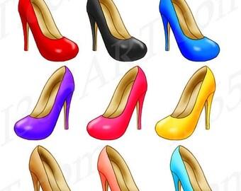 50% OFF High Heels Clipart, Heels Clip art, Shoes clipart, Stiletto clipart, Fashion, Digital Graphics, Scrapbooking, PNG JPEG, Commercial
