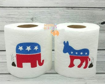 ON SALE Patriotic Democrat donkey or Republican elephant embroidered toilet paper, politics, funny gag gift, white elephant bathroom decor j