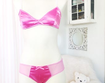 Pink Satin Triangle Bra and low Rise Bikini Brief Panty
