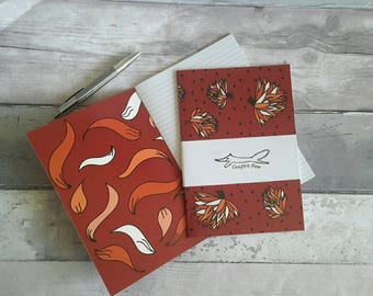 Flower A5 notebook, lined, blooms, blossom, botanical,  gardening, notepad, red, rust coloured, autumnal, gift, stationery accessory