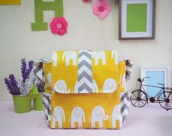 Messenger Diaper Bag Stripe/Yellow elephant and chevron!!