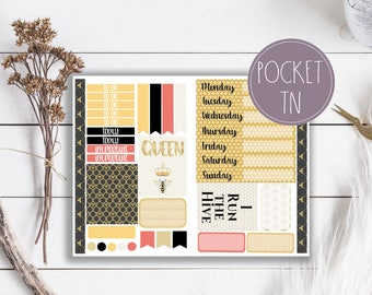 Queen Bee Black and Gold Travelers Notebook Planner Stickers Pocket Size