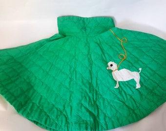 "Girls 1950s 50s vintage quilted circle skirt poodle 3D applique 22"" waist •"