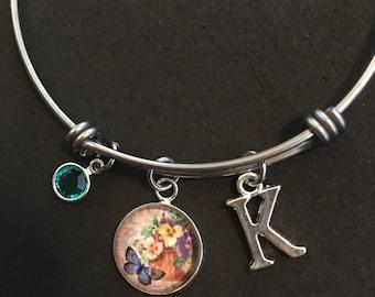Personalized Pansy Bangle Personalized Pansy Bracelet Pansy Jewelry